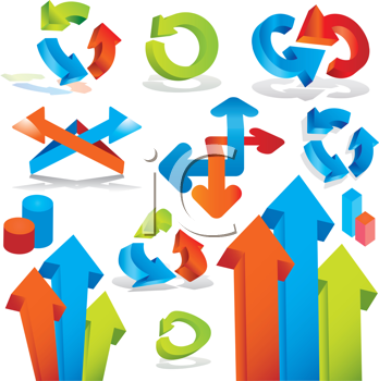 Royalty Free Clipart Image of a Group of Arrows