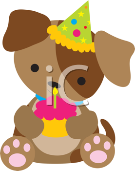 Royalty Free Clipart Image of a Puppy Holding a Cupcake
