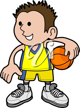 Royalty Free Clipart Image of a Young Boy Holding a Basketball