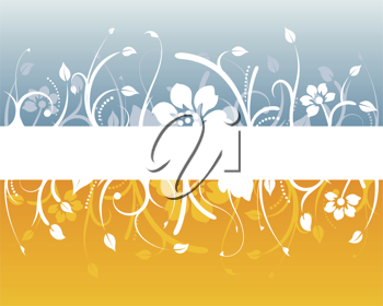 Royalty Free Clipart Image of a Floral Design With a White Band