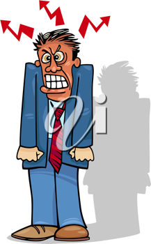 Cartoon Illustration of Furious Angry Man in Suit or Businessman