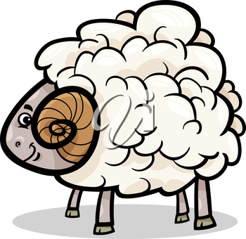 Cartoon Illustration of Funny Ram Farm Animal