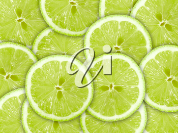 Abstract green background with citrus-fruit of lime slices. Close-up. Studio photography.