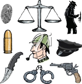 set of sketch illustration of detective objects