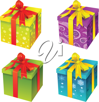 Royalty Free Clipart Image of Gift Boxes