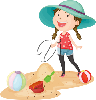Royalty Free Clipart Image of a Girl Playing at the Beach
