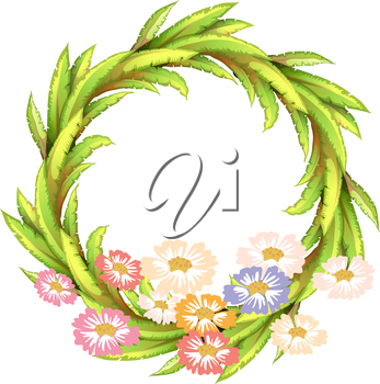 Illustration of a round border with colorful flowers on a white background