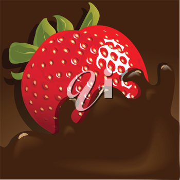 Royalty Free Clipart Image of a Chocolate Covered Strawberry