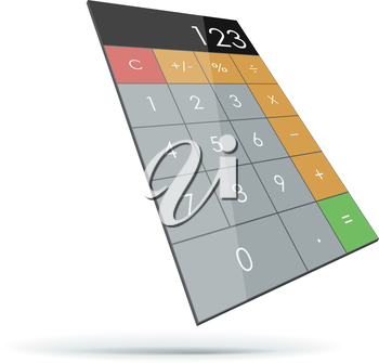 Abstract flat 3D calculator isolated on white background.