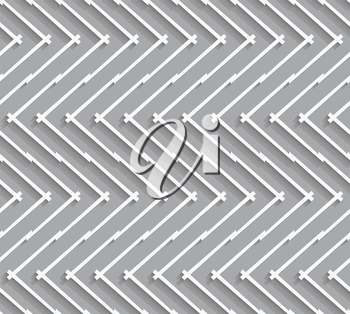 Seamless geometric background. Modern monochrome 3D texture. Pattern with realistic shadow and cut out of paper effect.Geometrical pattern with horizontal chevron lines.