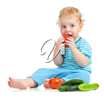 child eating healthy food isolated