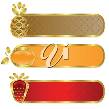 Royalty Free Clipart Image of a Set of Fruit Banners