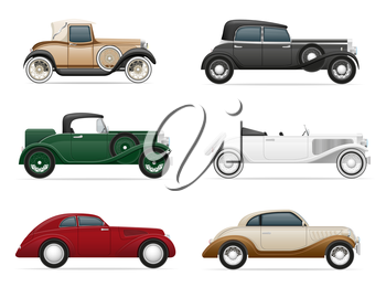 set icons old retro car vector illustration isolated on white background