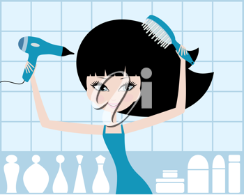 Royalty Free Clipart Image of a Girl Drying Her Hair