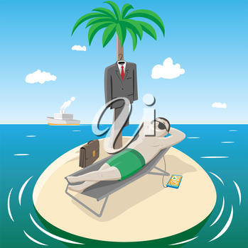 Royalty Free Clipart Image of a Man on a Tiny Island