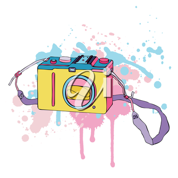 Old Photo Camera. Hand drawn Vector Illustration.