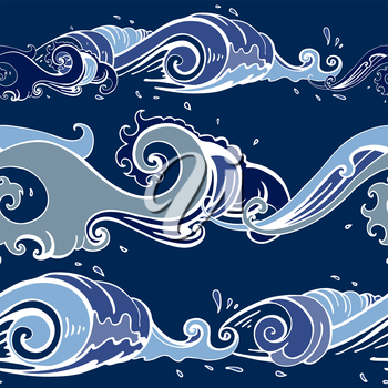 Sea waves. Hand drawn Seamless vector pattern Sea background.