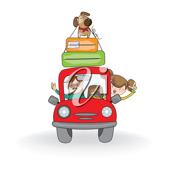 Royalty Free Clipart Image of a Man and Woman Travelling in a Car