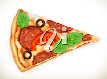 Slice of pizza, realistic vector illustration