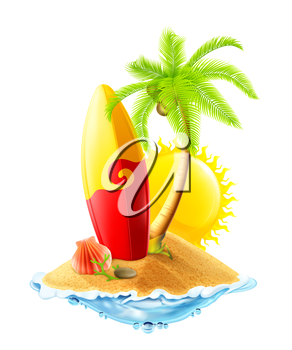 Surfboard and tropical island, vector illustration