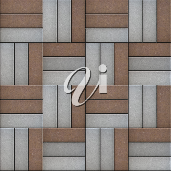 Gray and Brown Pavement of Rectangles Laid Out on Three Pieces. Seamless Tileable Texture.