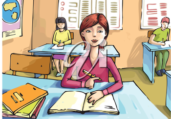 The girl is studying in the classroom.Editable vector EPS v9.0