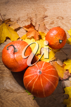 Autumn background with colored leaves and pumpkin on wooden board. Pumpkins on grunge wooden backdrop, background table. Autumn, halloween, pumpkin