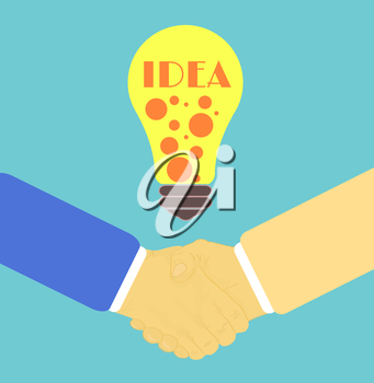 Handshake in flat design with lightbulb idea
