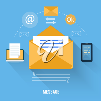 Set for web and mobile applications of office work. Envelope with message and email technology