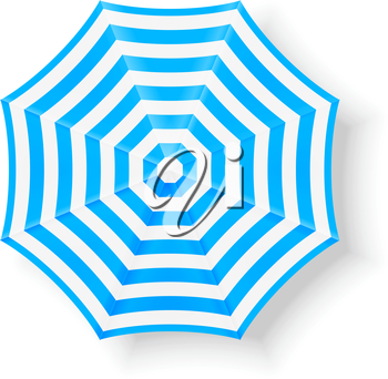 Blue beach umbrella. Top view
