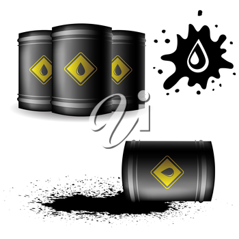 Metal Oil Barrel Isolated on White Background. Big Drop of Oil. Fuel Droplet. Drop of Oil Poured from a Black Barrel