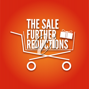 The sale further reductions poster with a basket, vector illustration, vector illustration for your design