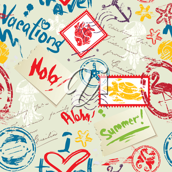 Seamless pattern with Sea and tropical elements - rubber stamps collection. Ready to use as swatch