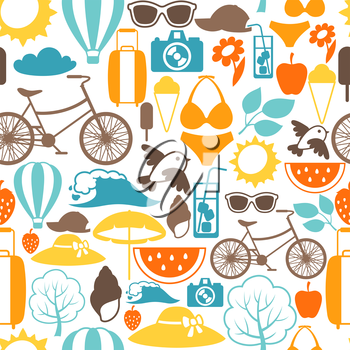Seamless pattern with stylized summer objects. Background made without clipping mask. Easy to use for backdrop, textile, wrapping paper.